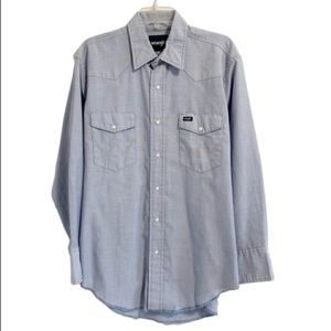 WRANGLER Chambray Western Pearl Snap Long Sleeve